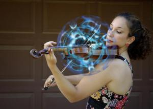 Sonic bubble enveloping a violin, frozen at a moment in time